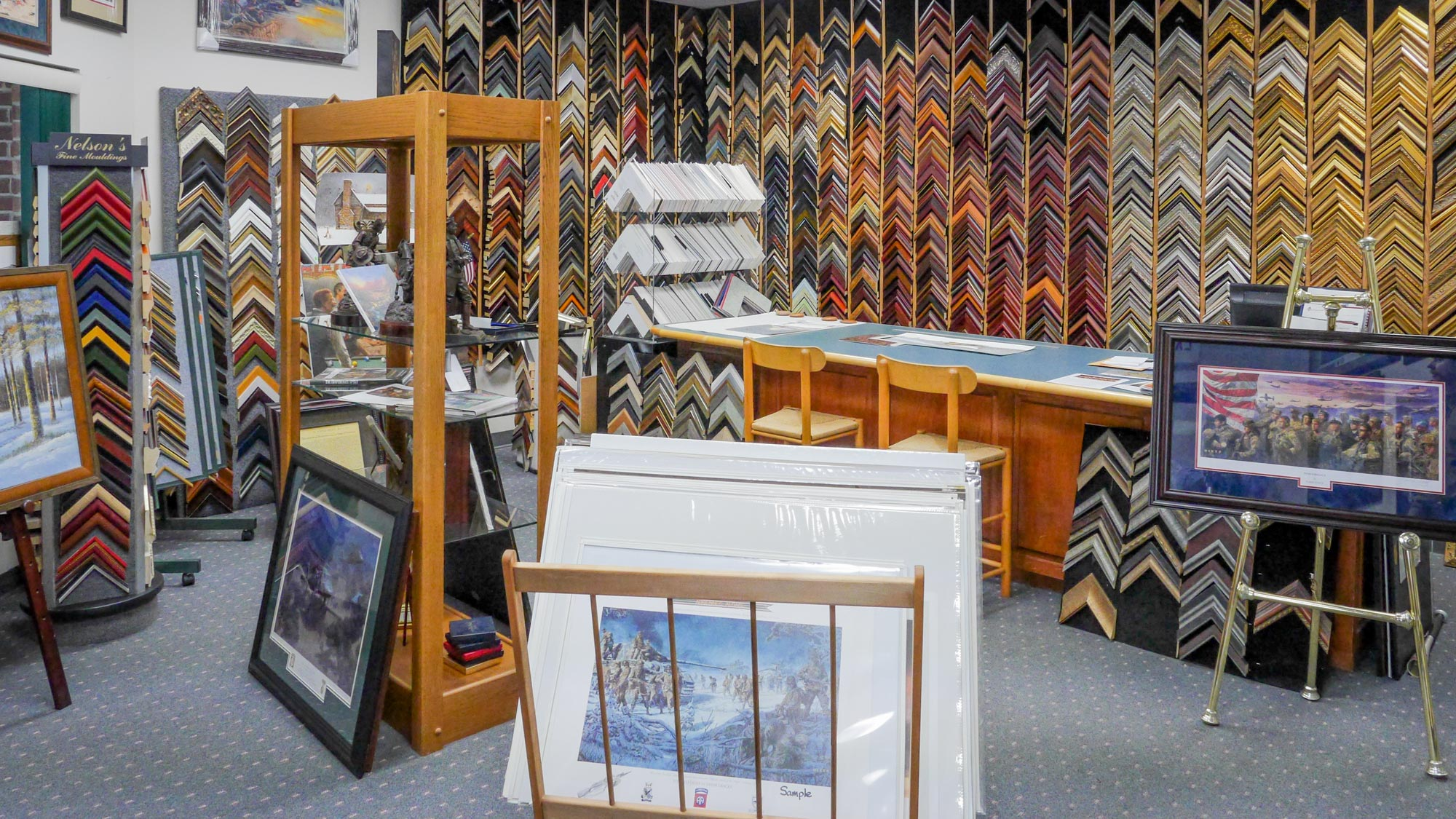 Showroom featuring military art, custom framing, Ft. Bragg, NC Fayetteville, Hope Mills, Spring Lake