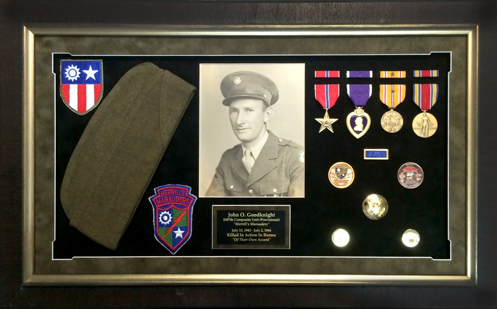 shadow box framed military memorial and memorabilia